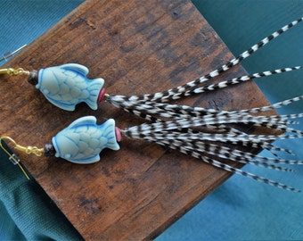 Handmade Hackle Feather Earrings with Fishy Beads