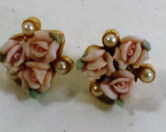Vintage 3 Pink Roses, 3 White Pearls and 3 Green Leaves On Gold Color Base/Pierced Earrings/Ceramic/Post Are Not The Same