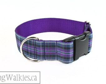"""Pride of Bannockburn Tartan Dog Collar / 1.5"""" Wide(38mm) / Purple Plaid / Choice of style and size - Martingale Dog Collars or Quick Release"""