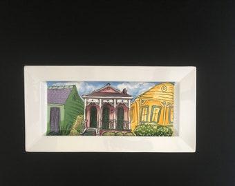 """New Orleans Shotgun Houses 16"""" Rimmed Rectangle Porcelain Platter"""