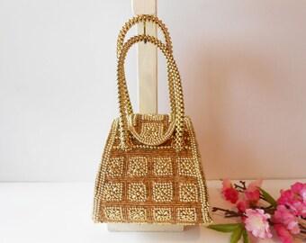Gold Evening Bag, Dazzling Purse, Vintage Gold Handbag, Glamorous Purse, Sparkly Gold Bag , Gold Evening Purse EB-0300