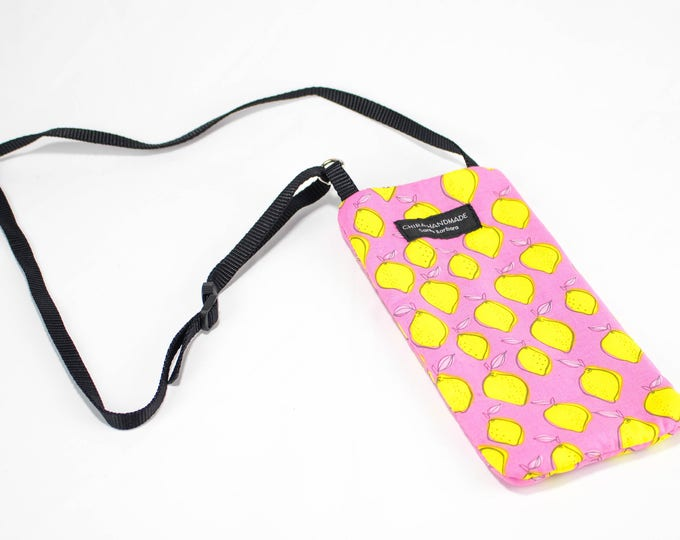 Eyeglass case for readers - Lemon fabric Eyeglass Reader Case -with adjustable neck strap lanyard