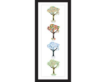 Buffalo Four Season - Framed Tree Print (Vertical)