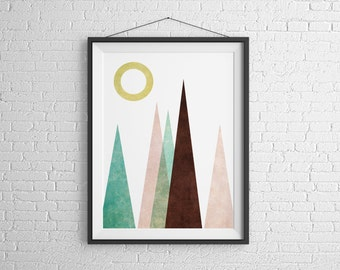 Mountain Print Poster Scandinavian Modern Art Mountain Scandinavian Art Wall Art Mountain Poster