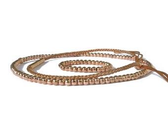 14k rose gold filled beaded bracelet for women / rose gold stackable stretch bracelets / women delicate timeless bracelet