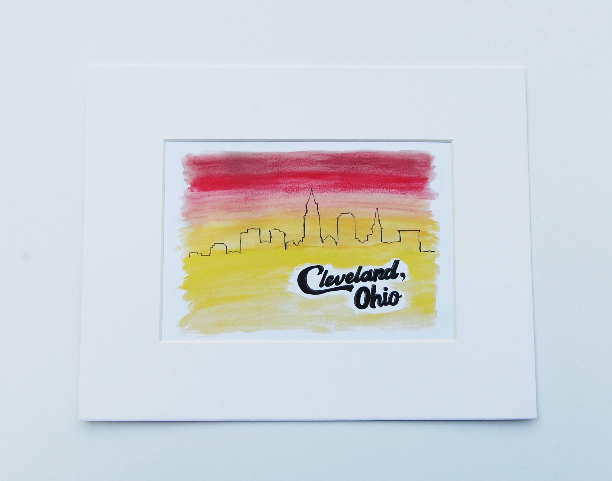 8x10 Cleveland Skyline Print Cleveland Art Ohio State