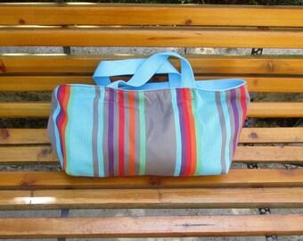 Handbag, canvas, turquoise, foldable