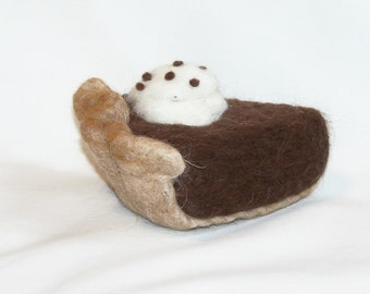 Needle Felted Food - Piece of Pie -  Chocolate Pie - Felted Desserts - Kitchen Decor - Play Food - Slice of Pie - Needlefelt - Gift Item