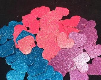 Glitter Heart Confetti Table Scatter Die Cuts - Bright Pink Heart Blue Heart Purple Heart Sparkly Heart