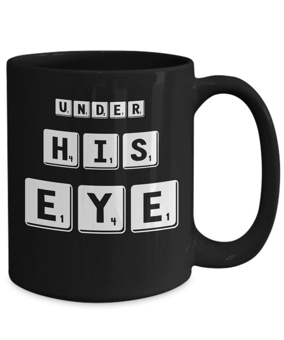 Pop culture mug under his eye tea cup gift for friend
