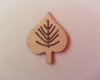 feuille en bois naturel 35*26mm