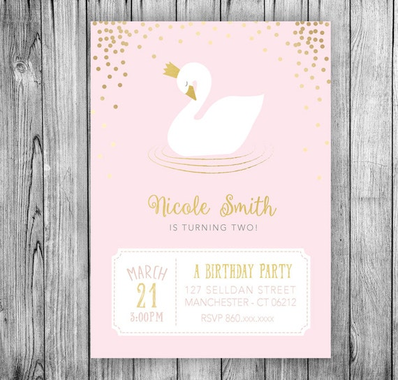 Swan Invitation Swan Princess Birthday Party Invitation Crown