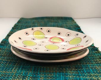 Retro original design - hand built slabs - 1960 circles and dots - yellow green peach - under glazed red earthenware