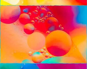 Impression de photographie de l'Art abstrait, panoramique Vertical Wall Art, la maison ou au bureau décor, Art mural abstrait, impression d'archives, Orange, rouge, bleu