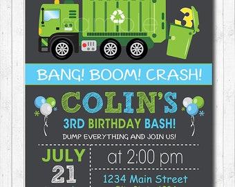 Garbage truck bags toppers printable garbage truck treat bags garbage truck birthday invitation garbage truck birthday invite garbage party chalkboard printable filmwisefo