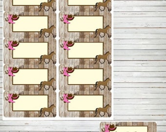 Horse Labels ~ Horse Tags Cowgirl Party Instant Download Editable Labels DIY Editable Horse Rustic Stickers Thank You Tags Editable PDF BD23