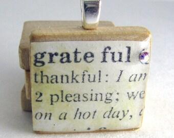 Grateful - vintage dictionary Scrabble tile with Swarovski crystal