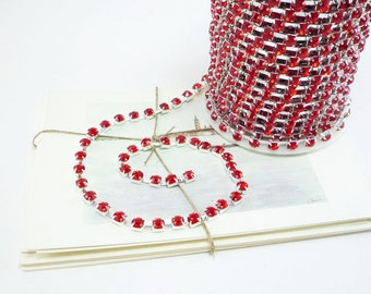 Silver Rhinestone Chain, Siam Red Crystal, (6mm / 1 Foot Qty)