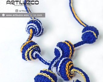 Bordoneo Pegaso, Crochet necklace, Necklace in natural fibers, Handmade knitted necklace