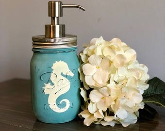 Seahorse Mason Jar Soap Dispenser