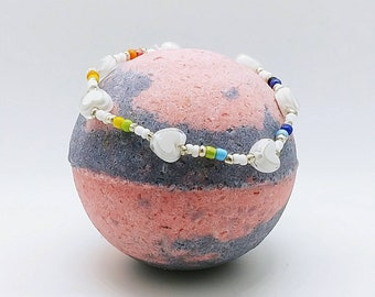 5 Ounce Girls Bath Bomb with Small Handmade Bracelet Inside