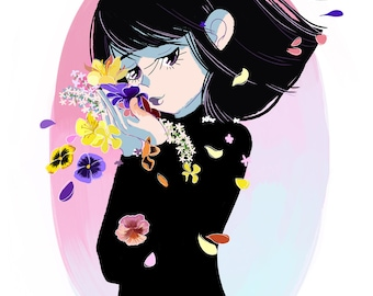 Hotaru, Sailor Saturn, Flowers, Sailor Moon, Sailor Senshi, Kawaii, Cute Art, Wall Art, Print, Magical Girl, Anime, Manga, Mahou Shoujo