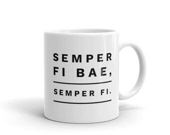 Badass Semper Fi Bae USMC Marine Corps Boyfriend Girlfriend Mug