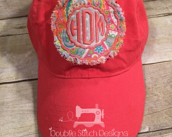 Coral raggy patch hat, mongrammed baseball hat, baseball cap, birthday gift, friend gift, boutique, scallop