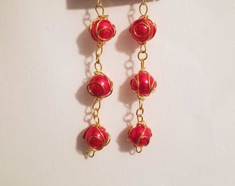 Red And Gold Long Earrings