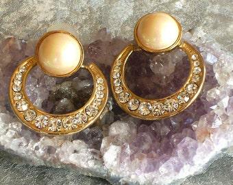Vintage Faux Pearl and Diamond Loop Earrings