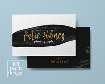 Watercolor business card template gold printable business card design gold and black business card paint business card gold foil photography