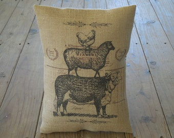 Animal Stack Burlap Pillow, Farmhouse Pillows, French Country, Shabby Chic, Farm68,  INSERT INCLUDED