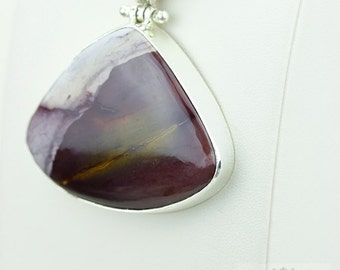 Excellent Grade MOOKAITE Jasper 925 S0LID Sterling Silver Pendant + 4MM Snake Chain & Free Worldwide Shipping P3688