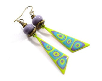 Handmade Earrings,  Paint and Resin Earrings, Purple and Green Dagger Earrings, Boho Earrings, Brass Earring, Artisan Earring, AE181