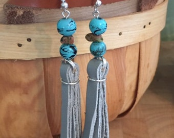 Genuine gray leather beaded dangles