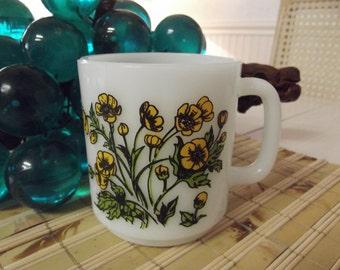 Vintage Glasbake milk glass mug - coffee or tea cup - Buttercup design - 70's coffee mug