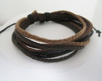 SPECIAL PRICE Multiple Shades of Brown Leather Wrap Bracelet Cuff