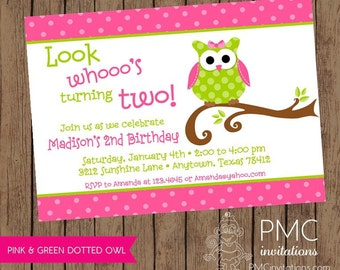 Cute Owl birthday party invitation - 1.00 each with envelope