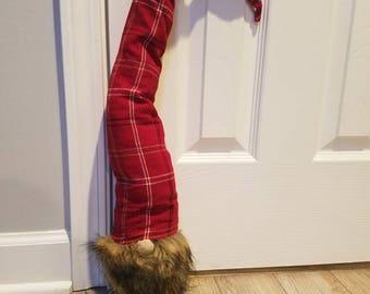 "Handmade Gnome Doorstopper 30"" Tall Tomte Red Hat Plaid Swedish Scandinavian Elf Nordic Heavy Beard"