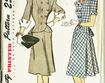 "Vintage Sewing Pattern 1940s Ladies' Two Piece Dress Simplicity 1866 Size 34"" Bust - Free Pattern Grading E-book Included"