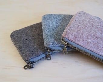 Small zipper pouch in Linen - coin purse, mini wallet