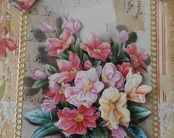 C253 card 3D postcard of a bouquet of pink and yellow flowers on a background the old tapes in pastel colors.