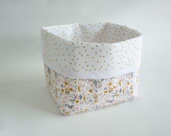 Storage basket, basket diaper /tissu liberty girl gold dots