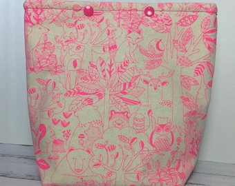 Neon Woodland Knitting Project Bag - Snap GoGo