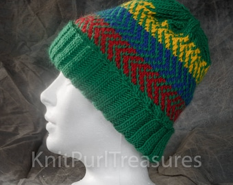 hand knit hat green