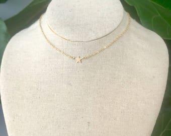 Gold Mini Star Choker Necklace