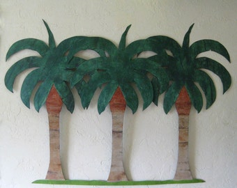 Huge Metal Wall Art sculpture Palm Tree Group Recycled Metal Wall Decor Beach House Tropical 35 x 48