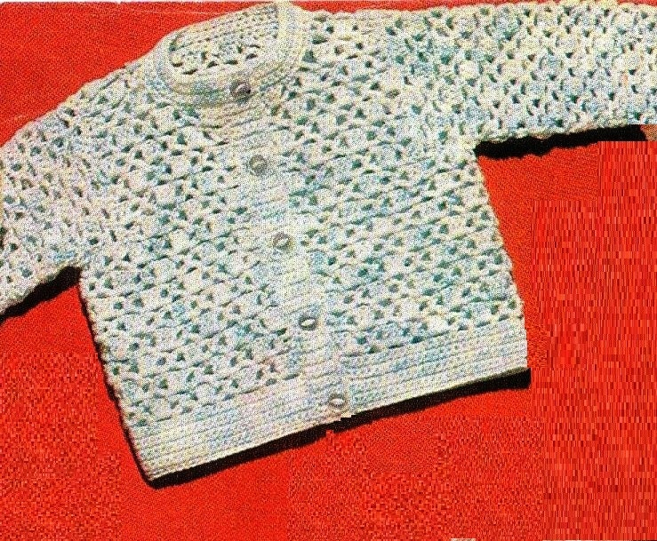 Vintage Baby Crochet Pattern Baby Cardigan Crochet Baby