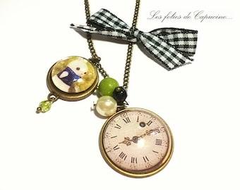 Necklace • horloge• glass Cabochon necklace