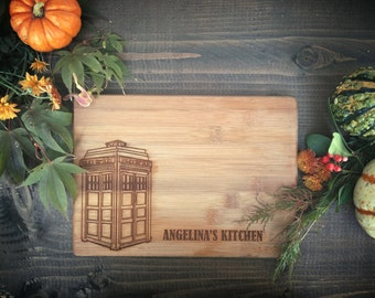Police Box, Time and Relative Dimension in Space, BungalowBoo Custom Engraved Bamboo Cutting Board